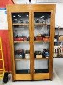 A LARGE DOUBLE DOOR FULL HEIGHT GLAZED CABINET,
