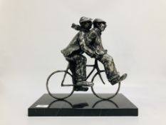 STUDIO METAL WORK FIGURE OF TWO MEN ON BICYCLE LIMITED EDITION 143/195 NO VISIBLE MAKERS MARKS