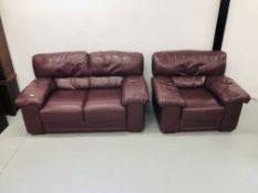 BURGANDY LEATHER TWO PIECE LOUNGE SUITE COMPRISING OF TWO SEATER AND CHAIR