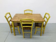 MODERN HARDWOOD DINING TABLE WITH 4 CHAIRS