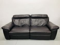 MODERN BROWN FAUX LEATHER RECLINING SOFA