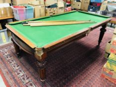 VICTORIAN MAHOGANY 1/2 SIZE SLATE BED SNOOKER TABLE WITH ADDITIONAL MAHOGANY DINING TOP CONVERSION