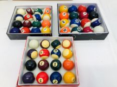 3 x BOXED SET OF POOL/SNOOKER BALLS & TRIANGLE