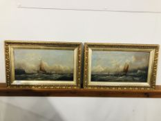 A PAIR OF OIL PAINTINGS ON CANVAS, FISHING BOATS IN ENGLISH CHANNEL,