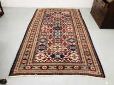 QUALITY AZTEC DESIGN ON A MAINLY BLUE & RED GROUND L112 inch x W65 inch