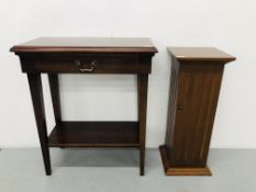 MODERN MAHOGANY FINISH SINGLE DRAWER HALL TABLE W21 1/2 inch, D14 inch,