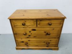 HONEY PINE 2 OVER 2 DRAWER CHEST H31 1/2 inch, W37 inch,