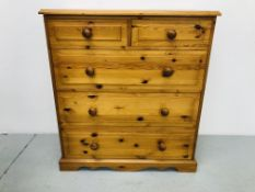 HONEY PINE 2 OVER 3 DRAWER CHEST H42 inch, W37 1/2 inch,