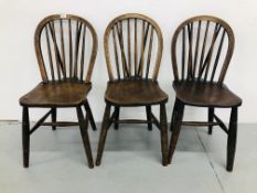 THREE PERIOD OAK KITCHEN CHAIRS STAMPED J.F.S HIGH WYCOMBE G.