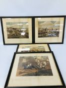 HENRY ALKEN: SET OF FOUR STEEPLE CHASE PRINTS (FOXED AND POOR CONDITION)