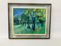 "CONTEMPORARY OIL ON BOARD ""ORCHARD SCENE"" BEARING SIGNATURE Y. ANDERSON 38 X 47CM."