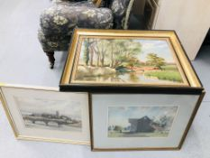 A FRAMED OIL ON CANVAS OF RIVER SCENE BEARING SIGNATURE PAUL SMYTH ALONG WITH TWO FURTHER