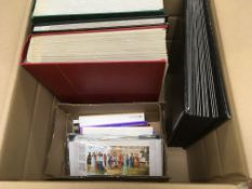 BOX OF VARIOUS IN THREE STOCKBOOKS AND L