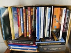 2 BOXES OF MIXED SUBJECT BOOKS TO INCLUDE AIRCRAFT, HAYNES MANUAL, CROSS-STITCH, THIMBLE COLLECTING,