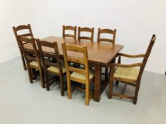 HEAVY OAK EXTENDING FARMHOUSE DINING TABLE WITH EIGHT DINING CHAIRS (SIX SIDE,