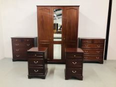 """""""STAG"""" MAHOGANY FINISH PIECE BEDROOM SUITE COMPRISING PAIR OF 3 DRAWER BEDSIDE CHEST,"""