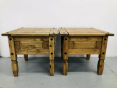 """A PAIR OF """"MEXICAN"""" WAXED PINE LAMP TABLES"""