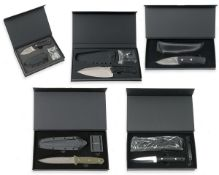 BOKER, GERMANY A GOOD COLLECTION OF FIVE BOXED OUT OF PRODUCTION 'BOKER-PLUS' SHEATH-KNIVES,