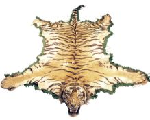FORMERLY THE PROPERTY OF MAJOR D.J.C. HAIG-THOMAS A VINTAGE FULL RUG-MOUNT OF A TIGER (panthera