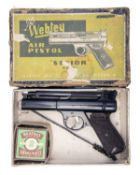 WEBLEY & SCOTT, BIRMINGHAM A BOXED .22 BARREL-COCKING AIR-PISTOL, MODEL 'SENIOR', batch no. 377,