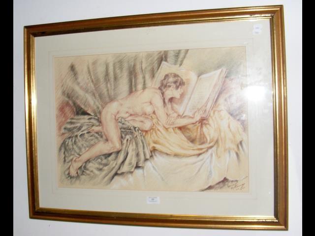 Lot 34 - FRANCO MATANIA - an original picture of reclining