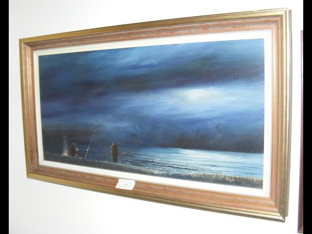 Lot 33 - PETER LEATH - an oil on canvas of night-time Fishe