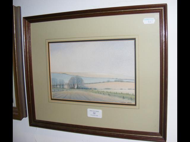 Lot 32 - MARTIN SWAN - watercolour of Island downs and farm