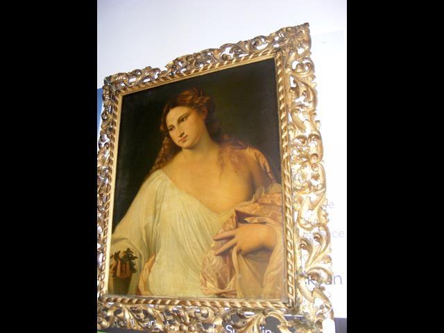 Lot 12 - An antique oil on canvas entitled 'Flora' in decorativ