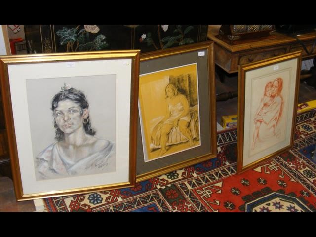 Lot 37 - FRANCO MATANIA - a pastel drawing - portrait of la