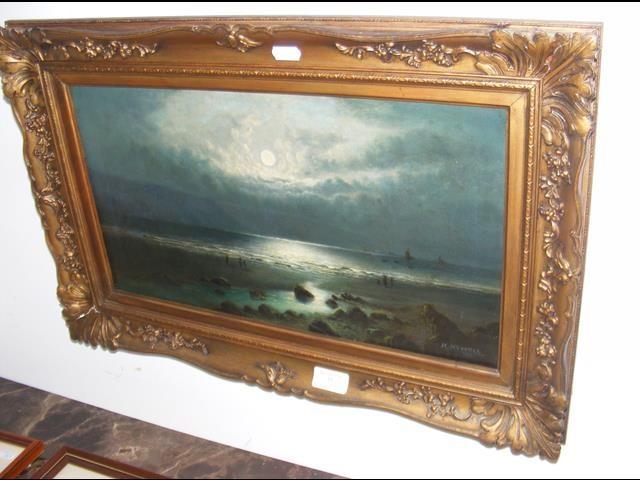 Lot 31 - H HOWELL - oil on canvas - moonlit seashore - date