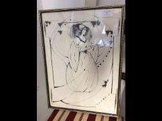 BEARDSLEY - a monochrome print in the Art Nouveau