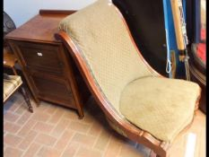 An antique nursing chair, together with an Edwardi