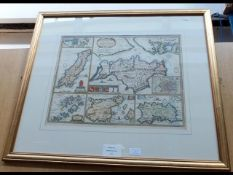 PHILIP LEA - 1700 - early hand coloured map of the