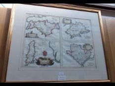 BERNARDINI - early hand coloured map of the Isle o