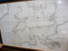 Early hand coloured chart of The Channel between E