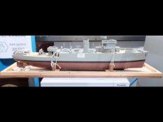 A part built model of Naval vessel - 75cm long - i