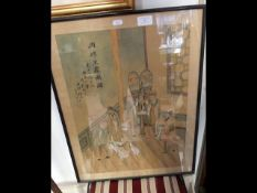 A Chinese silk picture with writing - 53cm x 41cm
