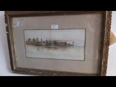 A watercolour of Yarmouth with paddle-steamer - mo