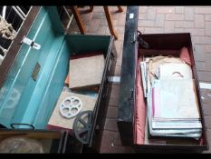 An old steel travelling trunk, containing various