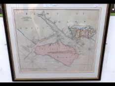 An early hand coloured chart of the Isle of Wight