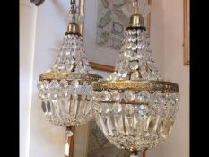 A pair of crystal drop ceiling lights - 48cm long