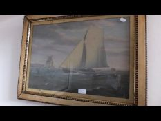 A 19th century marine oil of sailing vessel off th