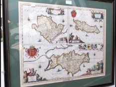 An antique hand coloured map of the Isle of Wight,