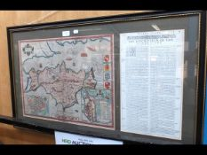 JOHN SPEED - 1611 - early hand coloured map of the