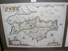 BLEAU - 1654 - an early hand coloured map of the I