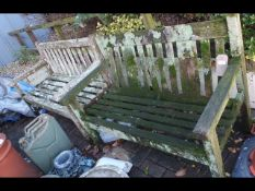 Two rustic garden benches