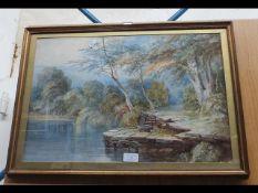 A watercolour of tree and lake scene - 36cm x 56cm