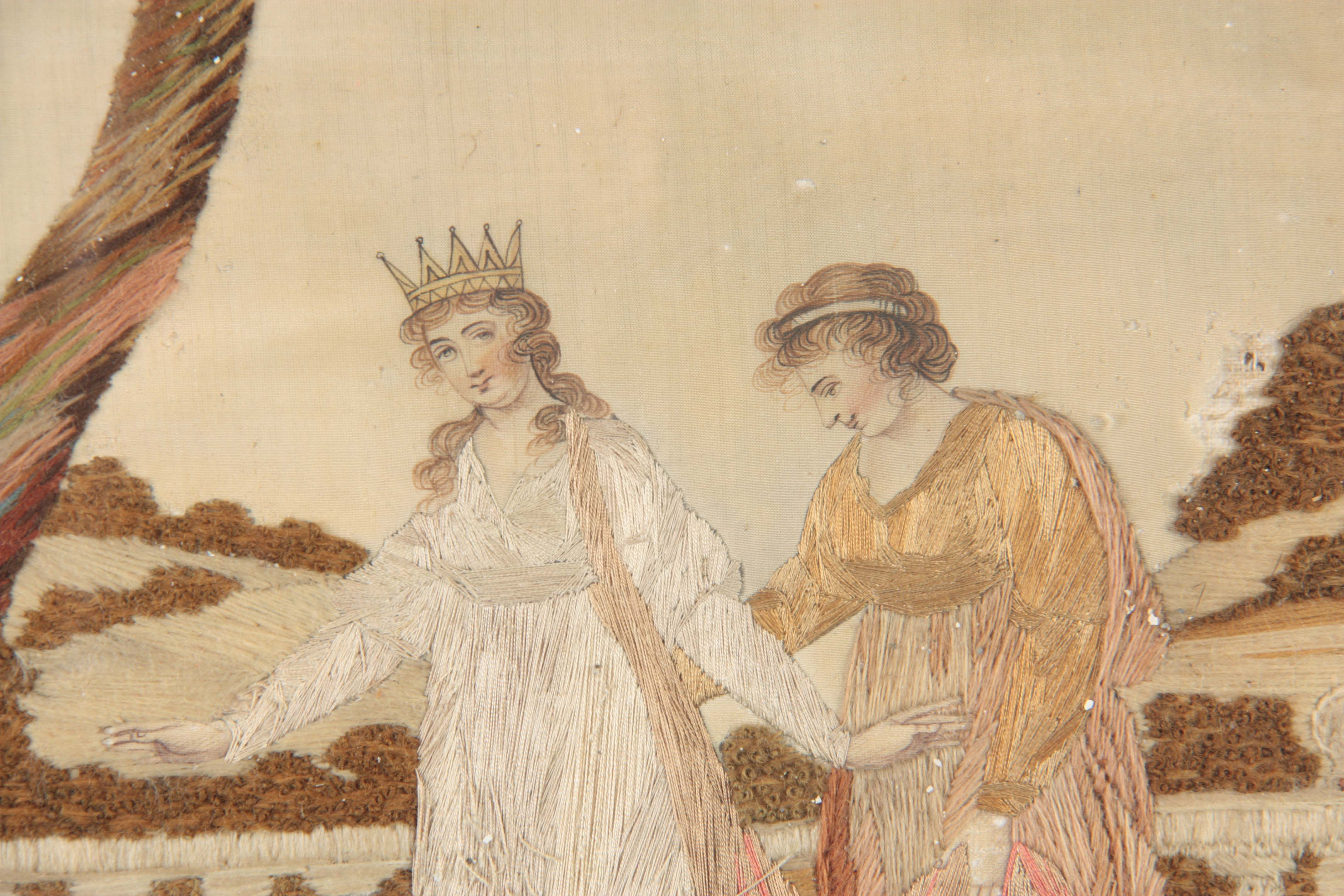 Lot 641 - A GEORGE III OVAL SILK GROUND NEEDLEWORK PICTURE worked in varies stitches wit figures and a child
