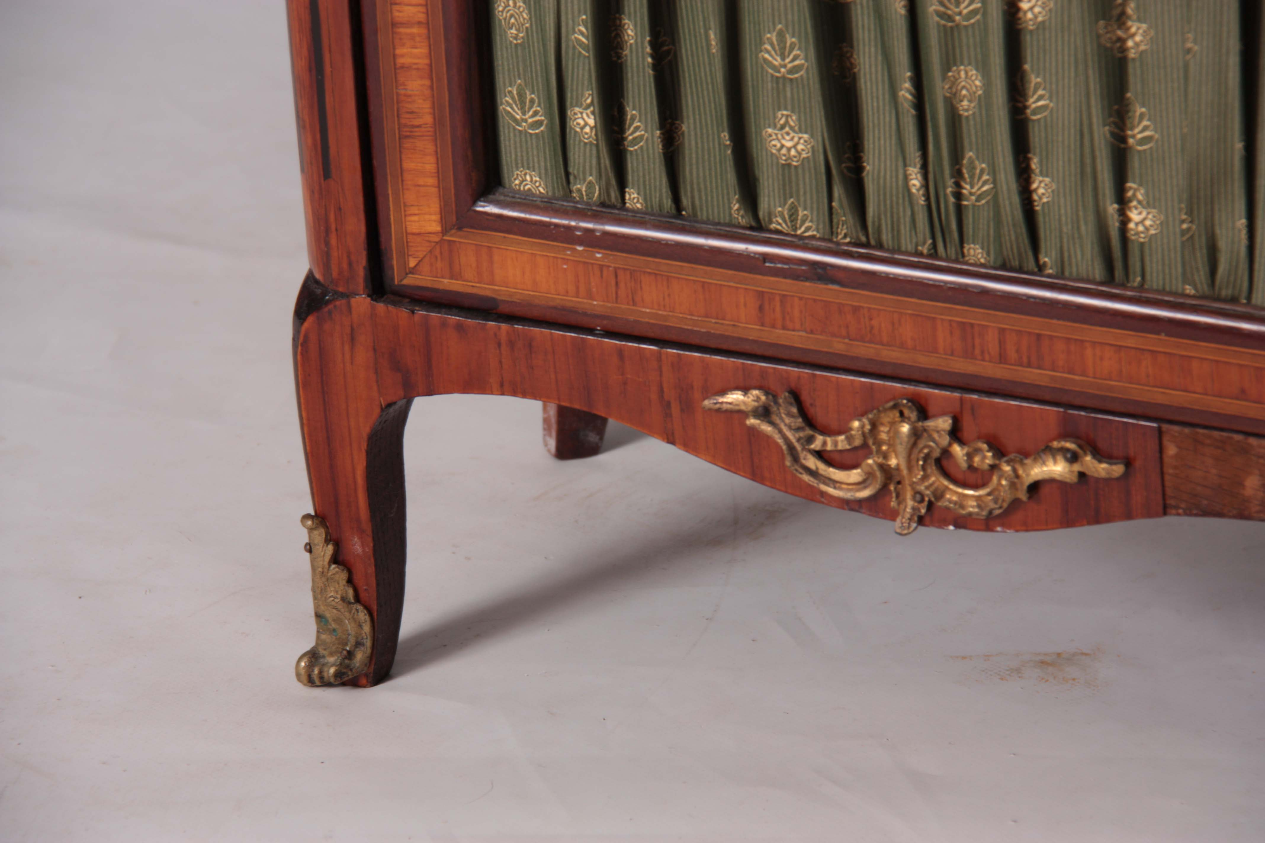 Lot 1164 - AN EARLY 19TH CENTURY LOUIS XI STYLE INLAID KINGWOOD SMALL SIDE CABINET with marble top and hinged