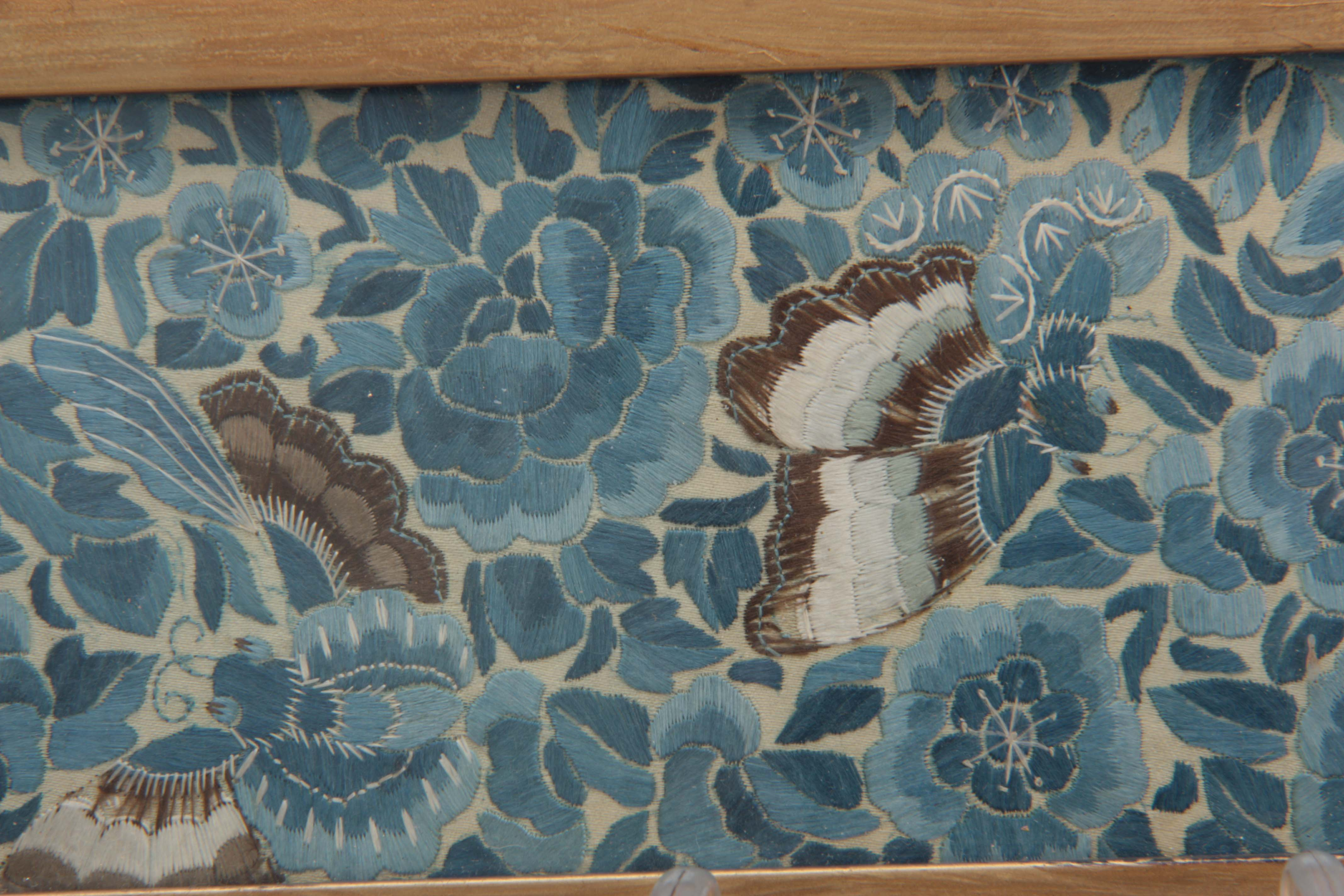 Lot 264 - A FINE PAIR OF 20TH CENTURY CHINESE SILK CUFFS decorated with butterflies and flower heads 58cm wide